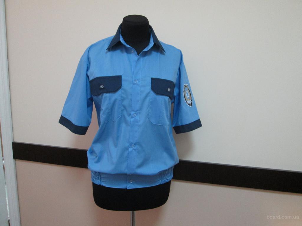 Рубашка форменная на резинке с контрастной отделкой,сорочка для охраны,униформа, рабочая одежда для военных