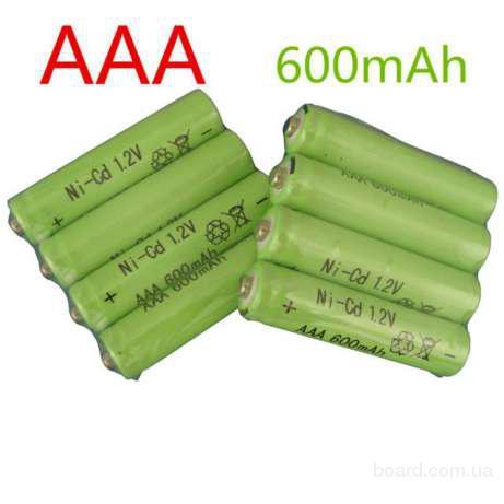 Аккумуляторы для фонариков 600 мАч 1.2 В Ni-CD AAA