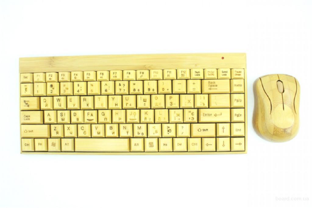 Бамбуковая клавиатура и мышка безпроводная.
