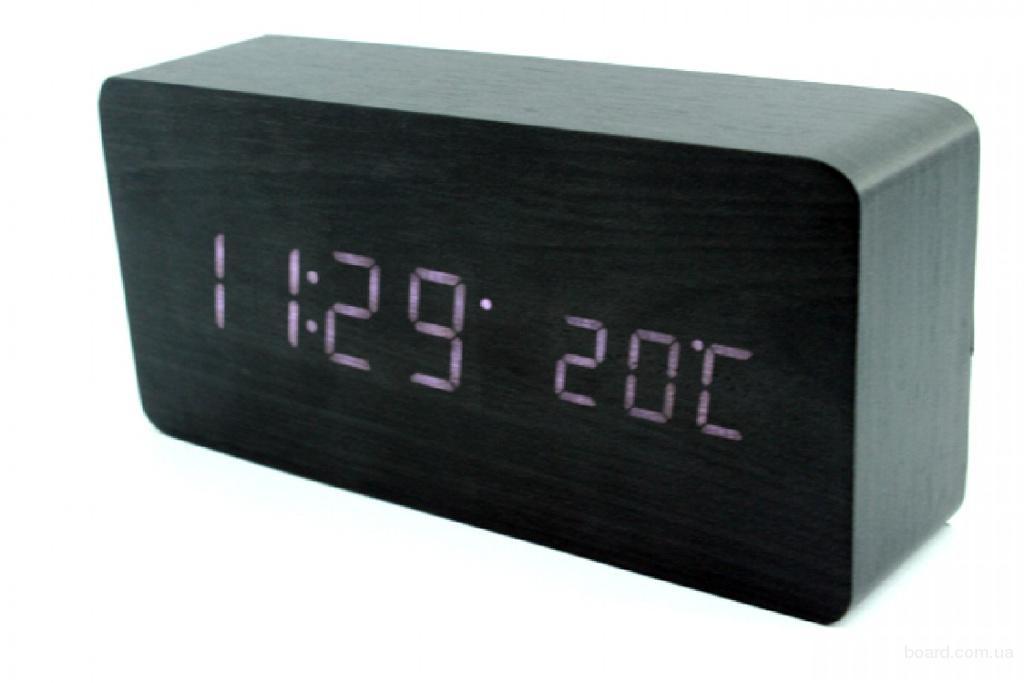 Эксклюзивные деревянные настольные часы брусок
