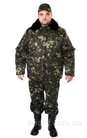 Бушлат камуфлированный,курта зимняя с меховым воротником