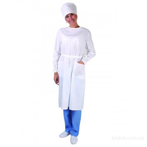 халат рабочий с бязи белый,халат женский,спецодежда,рабочий халат