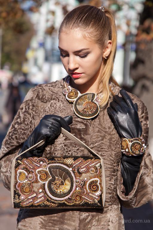 кожаная сумочка с аммонитами