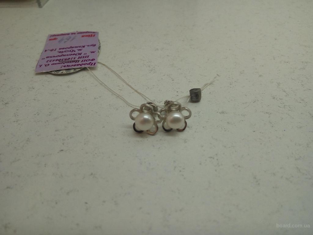 Продам новые серебряные серьги с жемчугом