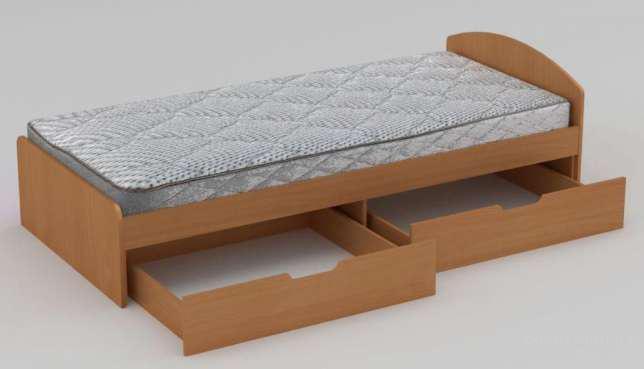 Кровать односпальная 90+2 ящика