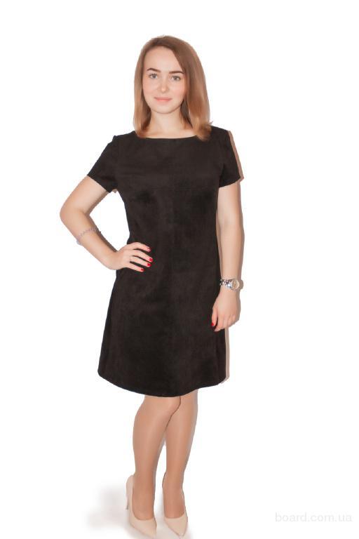 Платье замшевое Трапеция черное