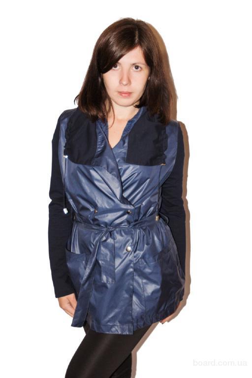 Куртка женская темно-синяя с воротником