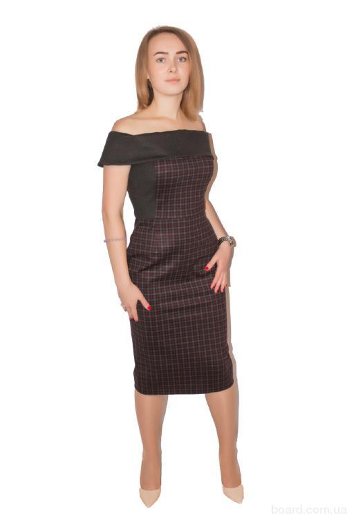 Платье Шик 1 крупная клетка + графит