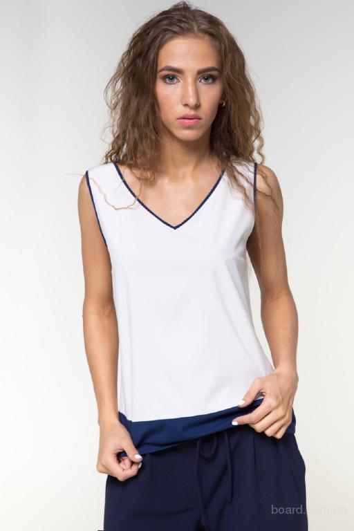 Блуза женская белая с синим