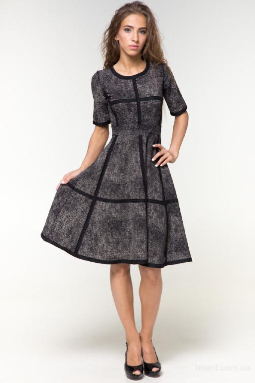 Платье Меланж клеш черно-молочное