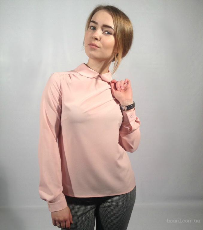 Блуза женская с круглым воротником и рукавами