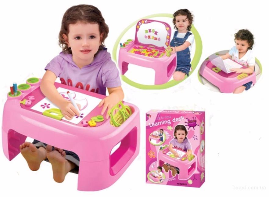 Удобная парта-мольберт для малышей розовая 628-22