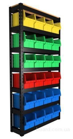 Металлический стеллаж купить с лотками ящиками для метизов