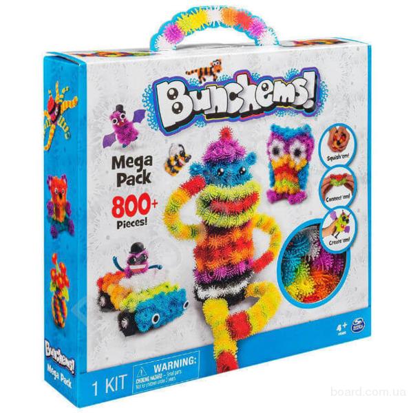 Конструктор липучка Bunchems Банчемс 800 предметов (пушистый шарик)