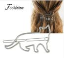 Заколка для волос кот, кошка, золотистая, серебристая