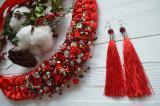 Набор коса из шелковых нитей в красном цвете