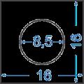 Алюминиевый пруток квадратный 16x16, отв. 8,5 мм
