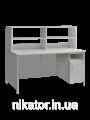 Стол для лаборатории с закрывающейся тумбой и верхней надстройкой Сл-001.04.02