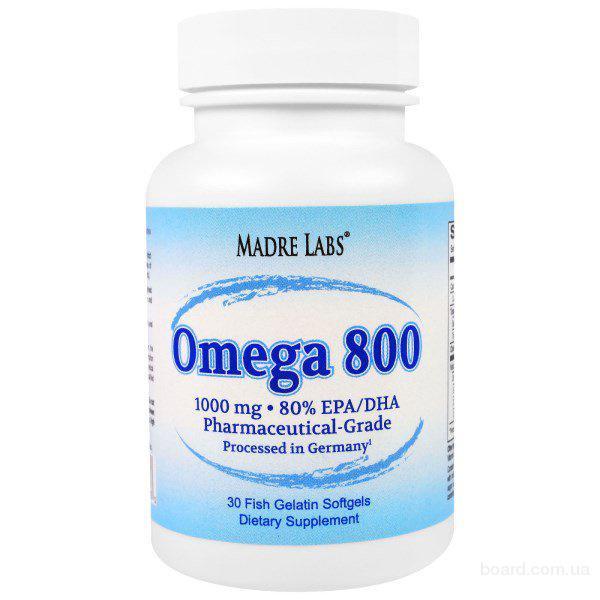 Рыбий жир Madre Labs Omega 800, 1000 mg, 30 капсул