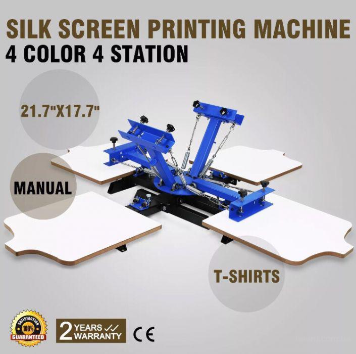 Шелкотрафаретный карусельный станок 4х2 станок для печати на футболках