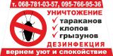 Уничтожаем тараканов, клопов, блох, грызунов в Днепропетровске и в областе