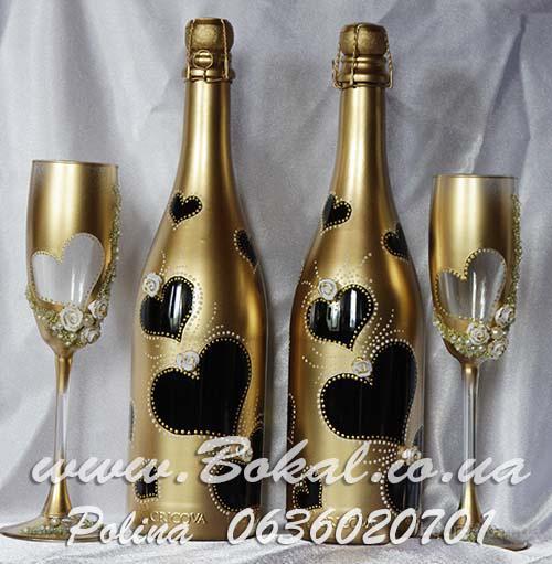 cfd0a73b4a1b4e2 Декор шампанского, роспись бокалов, свадебное шампанское, шампанское на  свадьбу Киев