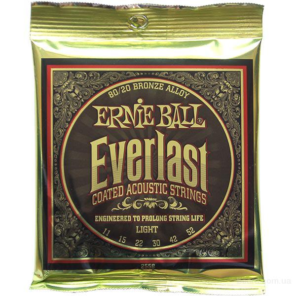 Струны Ernie Ball Everlast Coated 80/20 Bronze Alloy 2558 11-52 Light
